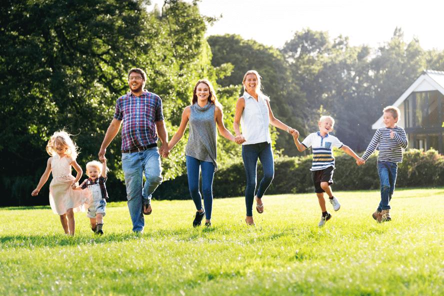 Happy Family Running